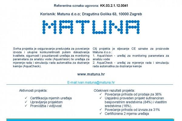 Stjecanje CE oznake za mjerne uređaje poduzeća Matuna d.o.o.